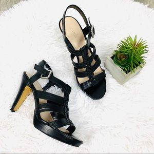 Franco Sarto black strappy leather heels size 7